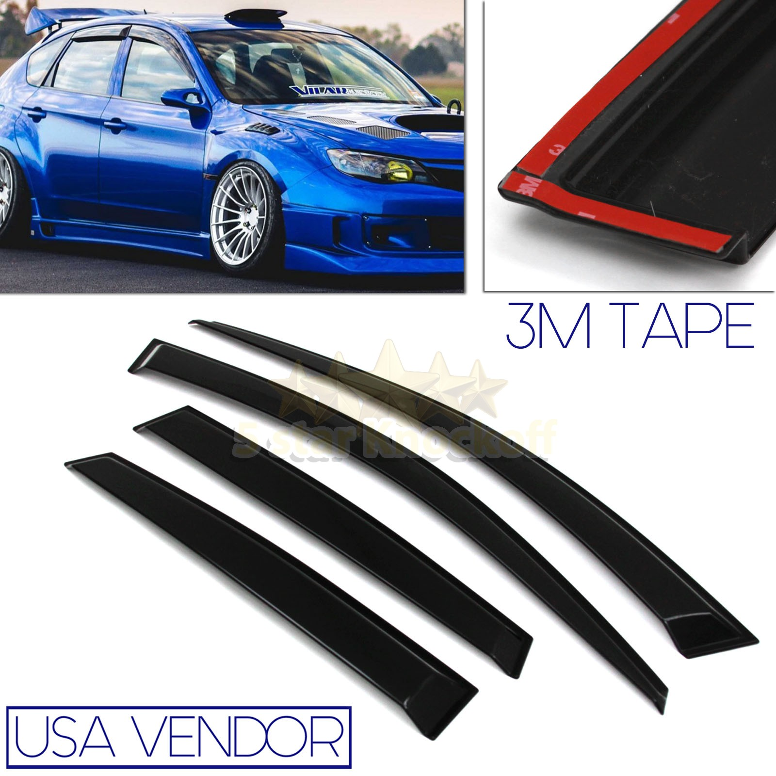FOR 08 11 SUBARU SEDAN USA WINDOW WIND DEFLECTOR RAIN GUARD BLACK